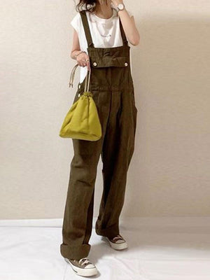 Plain Casual Straight Jumpsuit