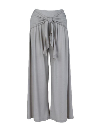 Plain Lace-Up High Waist Pants