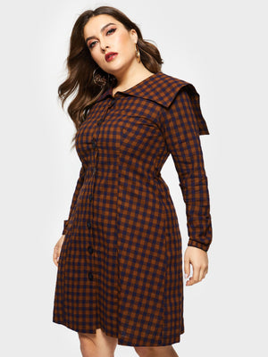 Long Sleeve Plaid Straight Dress