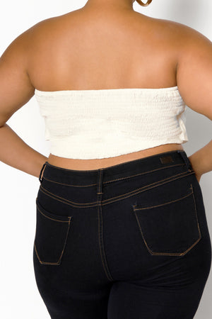 Saros Origami White Crop Top