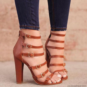 Chunky Heel Casual Plain Sandals