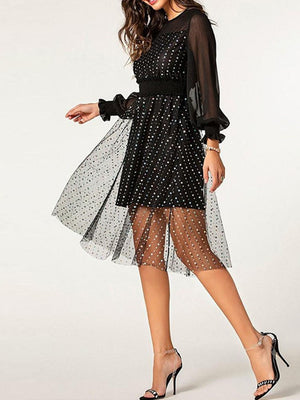Mesh Going Out High Waist Dress