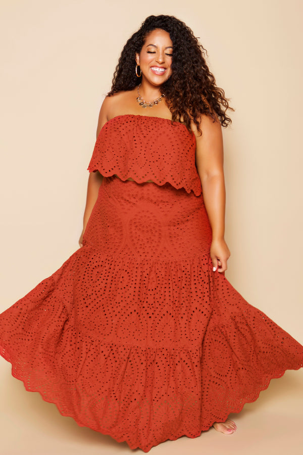 plus size tiered maxi skirt