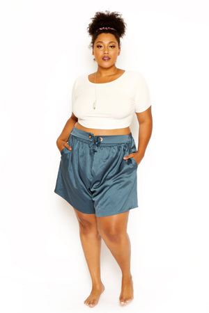 plus size blue shorts