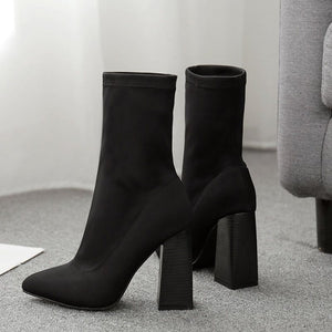 Chunky Heel Western Cotton Boots