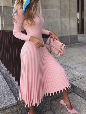Pleated Pullover Dress