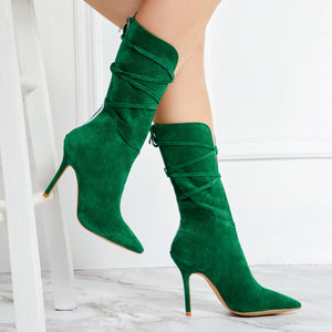 Lace-Up PU Boots
