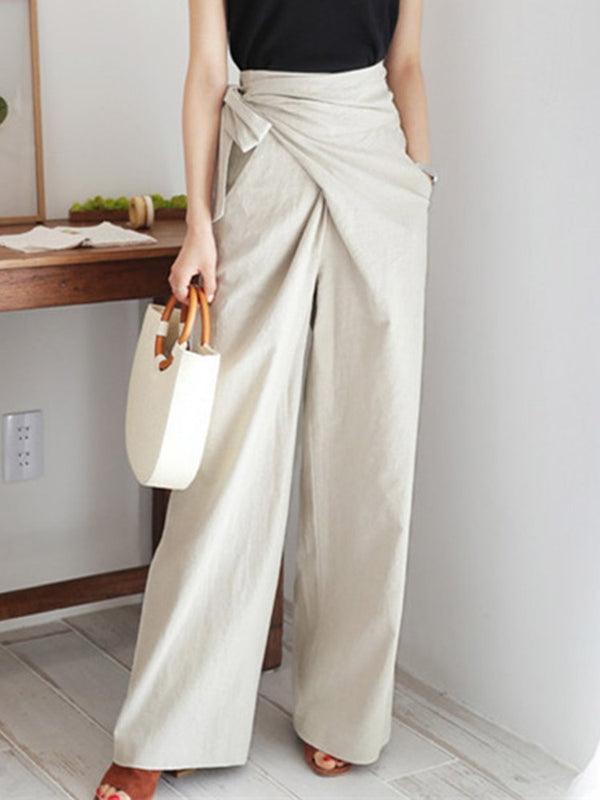 Plain Wide Legs Casual Pants