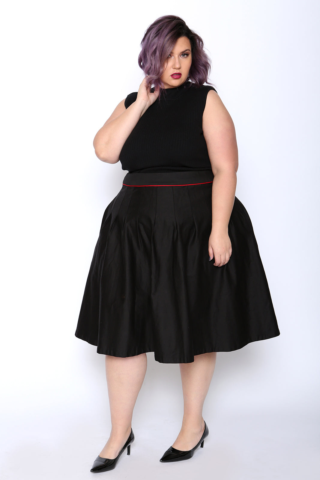 tru red piped black skater skirt - astra signature