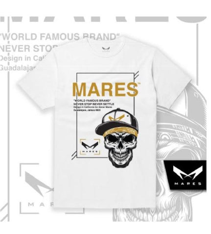 WHITE MARES TSHIRTS WITH BLACK & GOLD SKULL