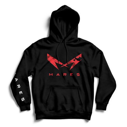 "BLACK HOODIE WITH ""M"" RED CAMOUFLAGE"