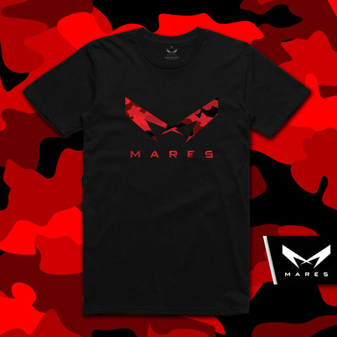 "BLACK TSHIRT WITH LOGO ""M"" (red camouflage )"