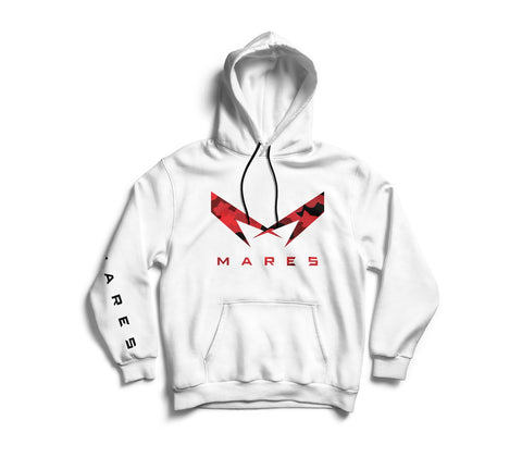 WHITE HOODIE RED CAMO LOGO