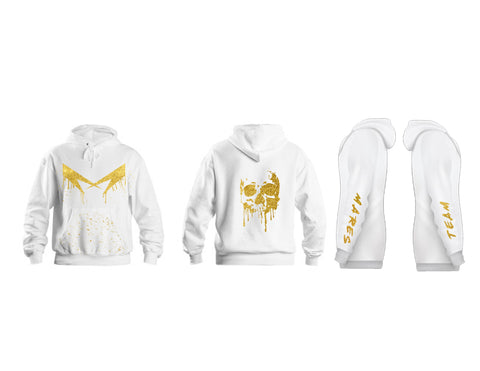 HOODIES MARES WHITE/GOLD SKULL