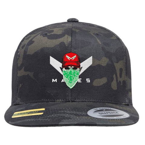 CAMOUFLAGE FLEXIFIT HAT WITH/SKULL