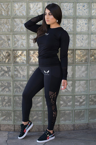 floral lace black leggins