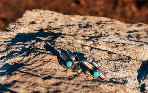 Cactus Sterling Silver & Turquoise Studs
