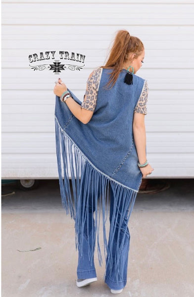 Statement Studded Denim Duster