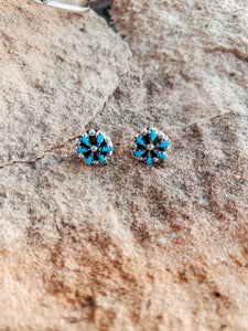 Small Turquoise/Sterling Silver Cluster Studs