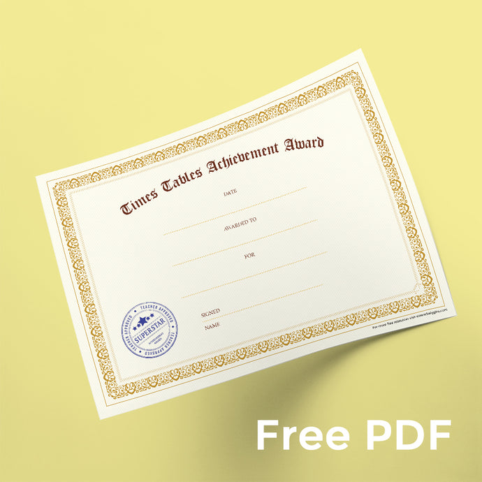 Free Times Table Certificate - Yellow