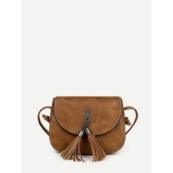 Double Tassel Flap PU Crossbody Bag - Broadwood Mercantile