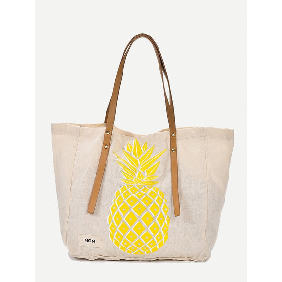 Pineapple Print Tote Bag - Broadwood Mercantile