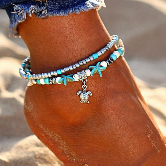Sea Turtle Ankle Bracelet with Sea Blue Starfish - Broadwood Mercantile