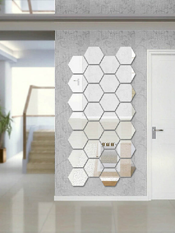 Hexagon Mirror Wall Sticker Set 12pcs - Broadwood Mercantile