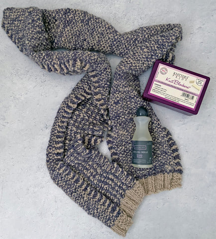 How to Wet Block Your Knit & Crochet Projects - unblocked scarf with set of knit blockers and eucalan wool wash