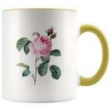 11 oz Accent Mug Colored Handle Cabbage Rose - Jim N Em Designs