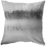 Misty Lake in Snow Throw Pillow - Jim N Em Designs