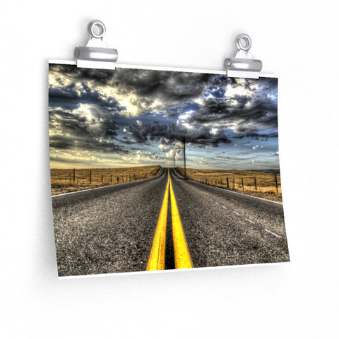 Country Road in Storm Dark Clouds Premium Matte horizontal poster - Jim N Em Designs