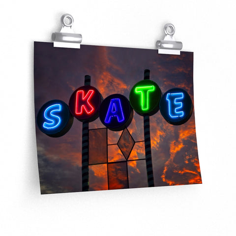 Vintage Skate Neon Sign Sunset Art Photo Premium Matte horizontal poster - Jim N Em Designs