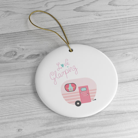 Love Glamping Pink Vintage Camper Trailer Ceramic Christmas Ornament - Jim N Em Designs