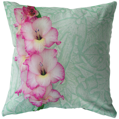 Pink Gladiolous on Mint Green Throw Pillow Home Decor Spring Garden Flower Floral - Jim N Em Designs