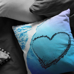 Heart in the Sand Throw Pillow Aqua and Blue - Jim N Em Designs