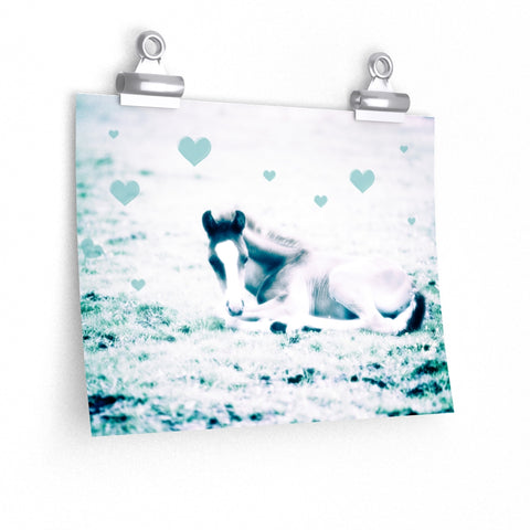 Foal Horse Hearts Photography Wall Art Nursery Premium Matte horizontal poster - Jim N Em Designs