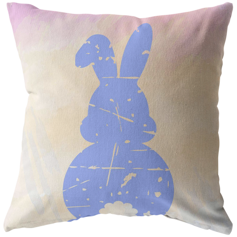Pastel Watercolor Distressed Easter Bunny Throw Pillow