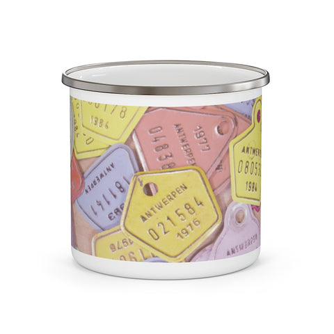 European Bicycle License Plate Pastel Enamel Camping Mug