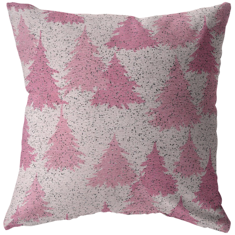 Pink Christmas Tree Forest Throw Pillow