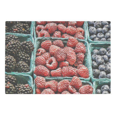 Berries Blueberries, Blackberries, Raspberries Glass Cutting Board Kitchen Decor - Jim N Em Designs
