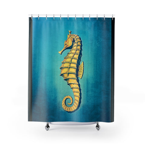 Gold Seahorse on Aqua Shower Curtain - Jim N Em Designs