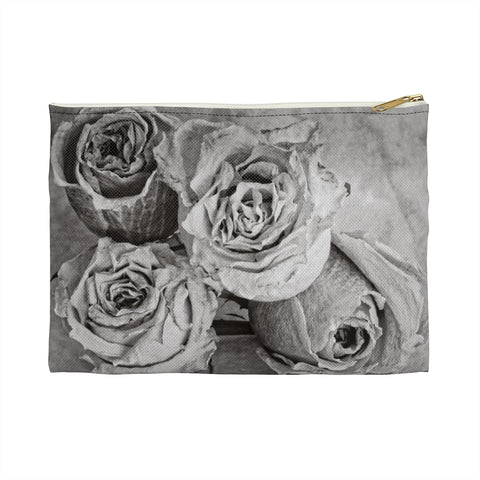 Dried Roses Black and White Accessory Pouch, Makeup Bag, Zipper Storage Pouch - Jim N Em Designs