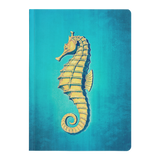 Gold Seahorse on Midnight Blue Paperback Journal - Jim N Em Designs