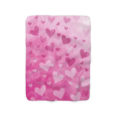 Pink Hearts Sherpa Fleece Blanket - Jim N Em Designs