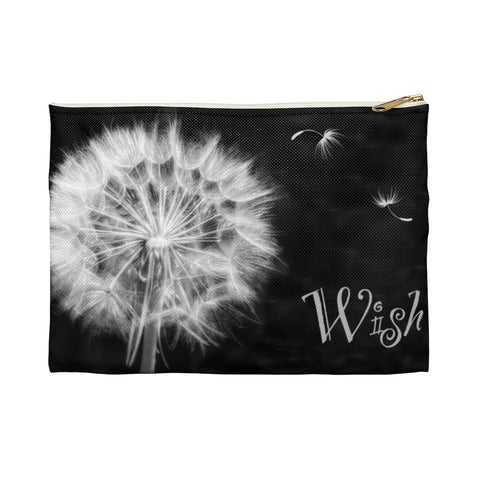Black Dandelion Wish Accessory Pouch Makeup Bag - Jim N Em Designs