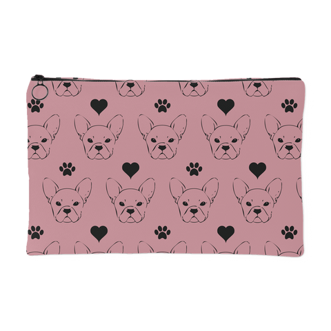 Pink Zipper Pouch Frenchie French Bulldog Hearts Pawprints - Jim N Em Designs