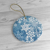 Ceramic Ornaments Blue Snowflakes - Jim N Em Designs