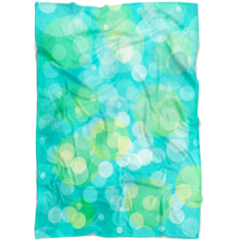 Fleece Blanket Aqua and Yellow Abstract Dot Circle Aqua and Yellow - Jim N Em Designs