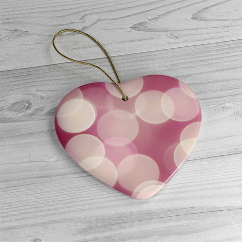Pink Light Bokeh Ceramic Ornaments - Jim N Em Designs
